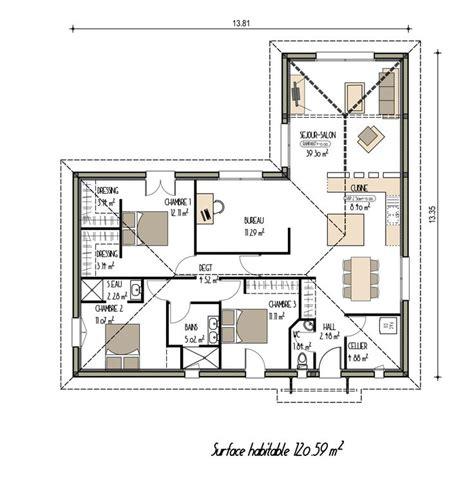 maison moderne plain pied 4 chambres plan maison moderne de plain pied ancien projet n 18
