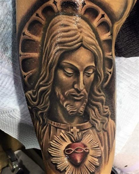 sacred heart tattoo designs  men religious ink ideas
