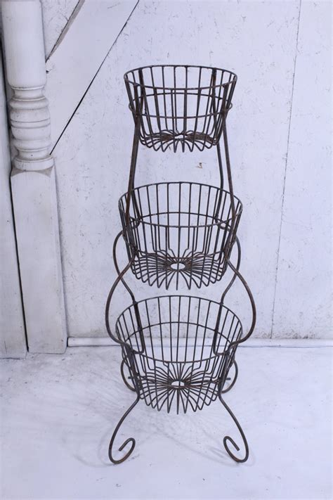 wrought iron  tier basket plant stand storage unit flower