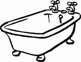 Coloring Pages Bathrooms Tub Bath Toilet Drawing sketch template