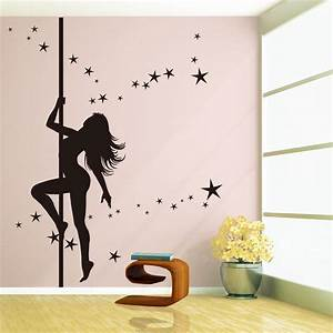 large pole dancing sexy girl removable vinyl art decal With wall sticker decor