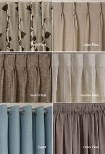 Examples of the different heading types available i quite for Types of pleat curtains