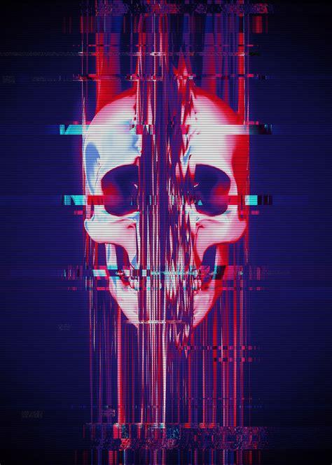 glitch skull closeup art illustration   fondo