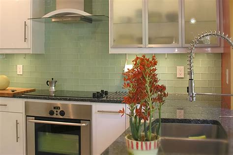 Green Glass Subway Tile In Surf  Modwalls Lush 3x6 Tile