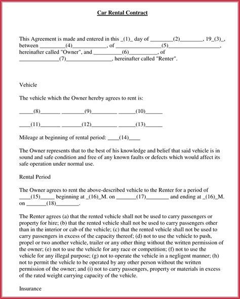car rental agreement  samples forms
