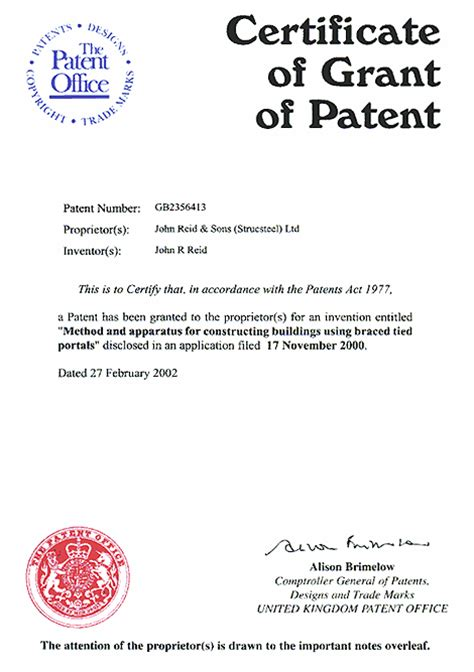 Us Patent Certificate Template