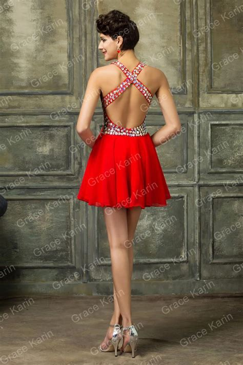backless  neck sleeveless crystal sequins red formal