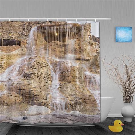 waterfall bathroom shower curtains ᗑ