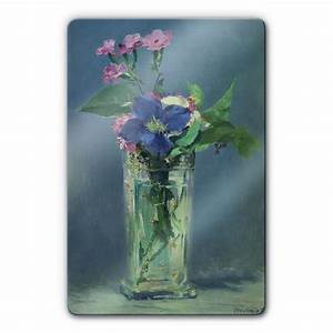 Glasvase 60 Cm Hoch : manet vase with carnations and clematis glass art 40x60 cm ~ Bigdaddyawards.com Haus und Dekorationen