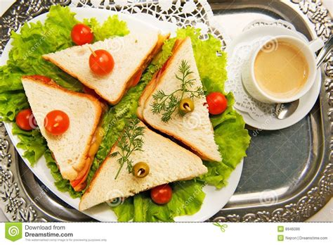 home made canape sandwiches royalty free stock image