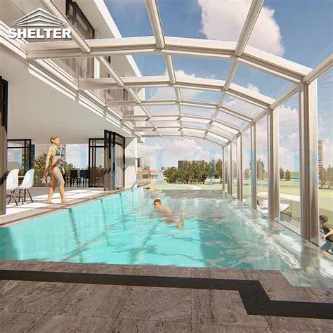 modern retractable pool enclosure  villas hotels shelter