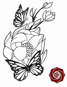 Flower tattoo sketch with butterfly - ClipArt Best ...