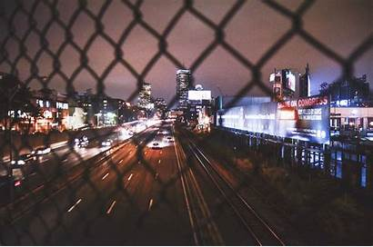Night Highway Overpass Road Buildings Traffic Fence