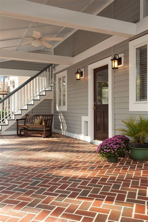 brick  siding transition porch traditional  wood