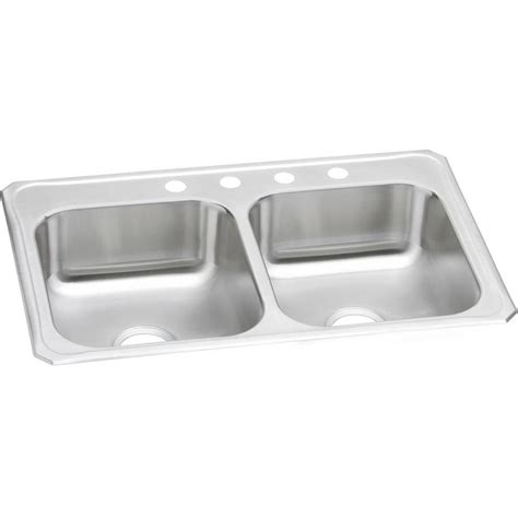 kitchen sinks stainless shop elkay gourmet brushed satin basin drop in 3055