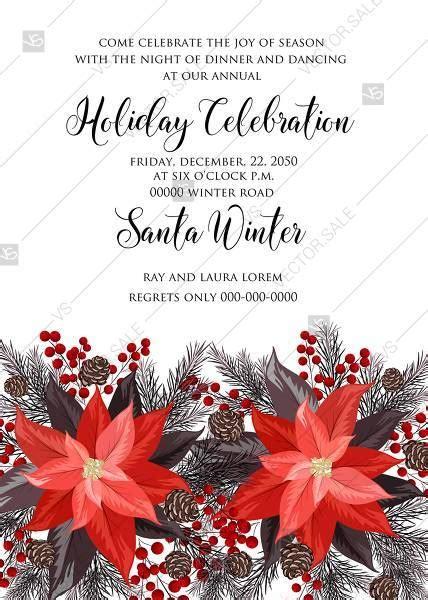 Poinsettia fir winter Merry Christmas Party invitation