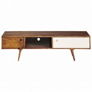 meuble tv vintage en bois de sheesham l 140 cm andersen With meuble vintage
