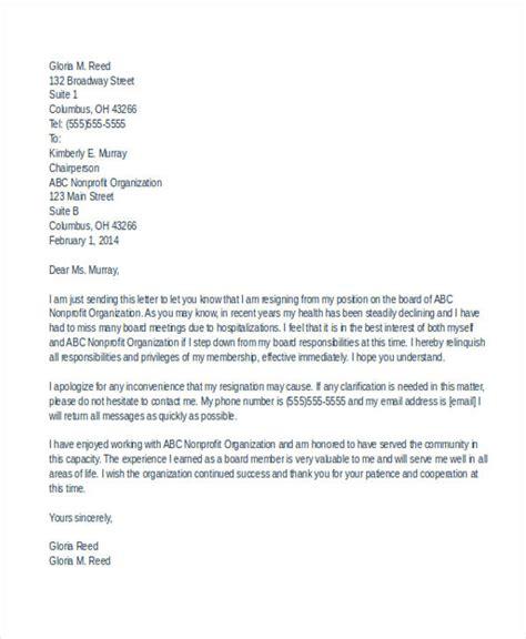 board resignation letter 7 board resignation letters free sle exle format