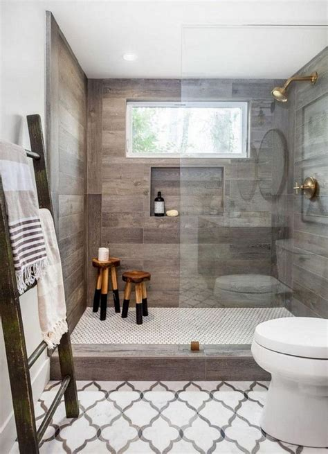 cool modern farmhouse master bathroom remodel ideas