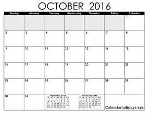 October 2016 Calendar Template Excel