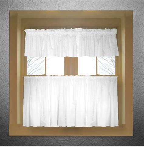 Bright white color tier kitchen curtain two panel set