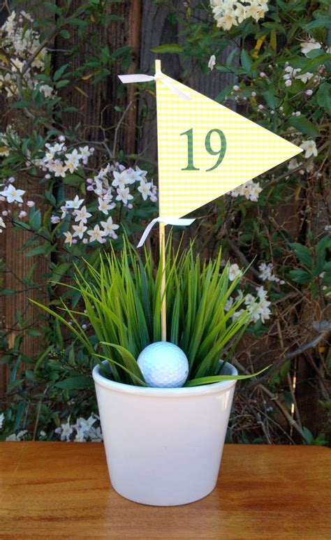 Golf themed ideas for invitations, decorations, activities, party decorations for a golf party cover tables with green astroturf or tablecloths. Golf Party at the 19th Hole   Golf centerpieces, Golf party, Party centerpieces