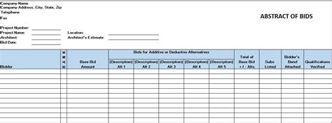 contract abstract form free construction project management templates in excel