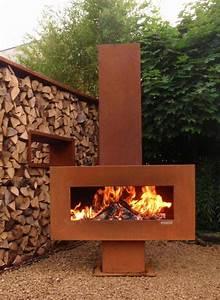 Cheminee Exterieur Bois : 55 id es sympas pour int grer l 39 acier corten dans votre jardin ~ Premium-room.com Idées de Décoration