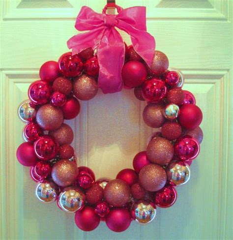 in his grip pink christmas ball wreath