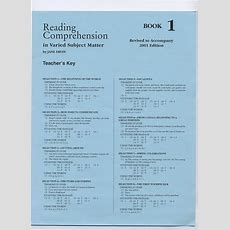 Reading Comprehension 1  Answer Key  School Specialty Eps