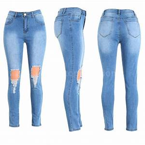 Sexy Women High Waist Jeans Destroyed Skinny Denim Pants Pencil Trousers G0Q9 | eBay