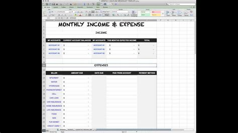 income expense sheet youtube
