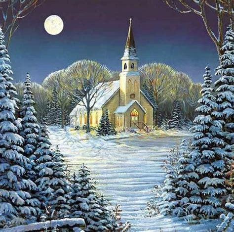 US Seller 30x30cm Beautiful Country Church Christmas