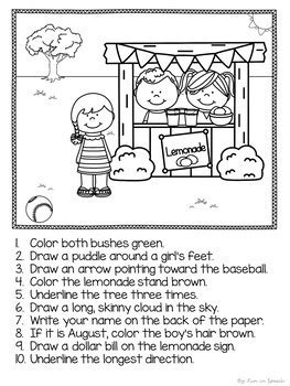 summer  directions worksheets print  speech therapy activities