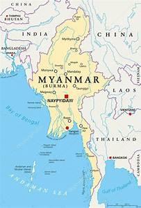 Politieke kaart van Myanmar Birma Stockvector © Furian #115990850