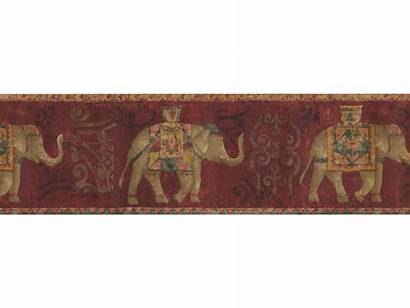 Borders Elephant Border Gold Traditional Paper Wall