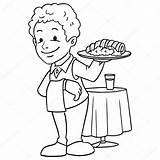 Waiter Cameriere Giovane Depositphotos sketch template