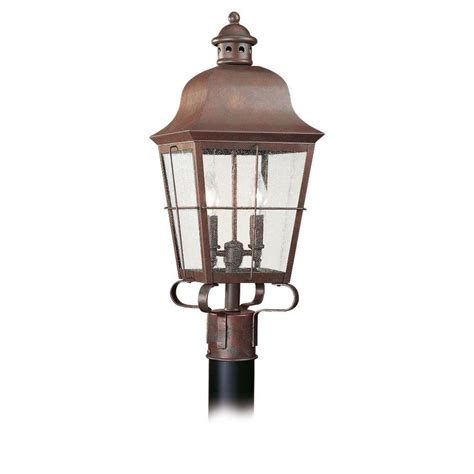 outdoor l post lights sea gull lighting lancaster 3 light outdoor polished brass