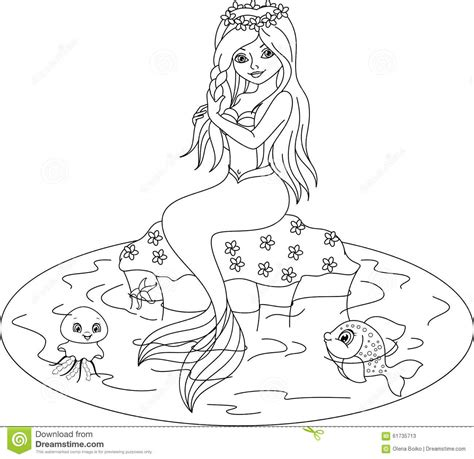 Kizi Kleurplaten by Mermaid Clipart Coloring Page Pencil And In Color