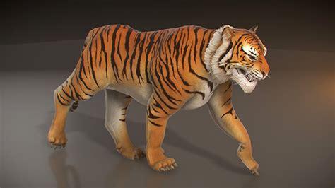 animated tiger  poly  pixelgem docean