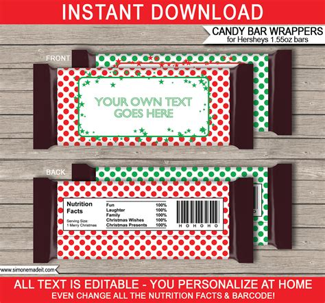 Easy christmas treat candy bars with printable wrappers • keeping it simple. Christmas Hershey Candy Bar Wrappers | Personalized Candy Bars
