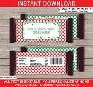 Christmas hershey candy bar wrappers personalized candy bars for Personalized chocolate bar wrappers template