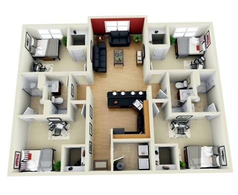 4 bedroom house floor plans 3d awesome 4 bedroom house plans indian style 3d arts four