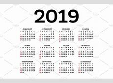 Calendar 2019 Isolated on White ~ Illustrations ~ Creative