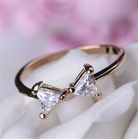 simply bow rhinestone ring thin band adjustable