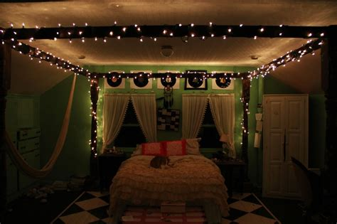 young woman bedroom and string lights bedrooms