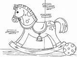 Horse Rocking Coloring Emborder Pages Printable Patterns sketch template