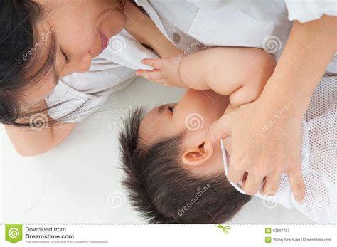 Asian Baby Drinking Breastmilk Stock Photo Image 63897787