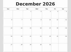 October 2026 Monthly Calendar Template