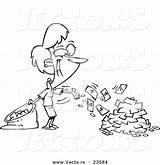 Cash Coloring Cartoon Spending Businesswoman Outline Vector Register Leishman Ron Template sketch template